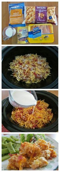 Cheesy Chicken Tater Tot CrockPot Casserole                                                                                                                                                                                 More