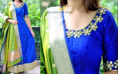 Pure rawsilk royal blue anarkali with intricate mirror hand work around neckline and sleeves teamed up with contrasting crisp green banarasi dupatta.