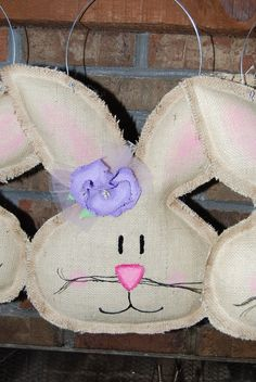Girl Burlap Easter Spring Bunny Door Hanger by bowsgalorenmore, $34.00
