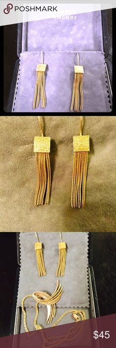 """Museum reproduction gold drop earrings Byzantine style gold plated over sterling embossed square with 4 strand chains. 2-1/4""""top to bottom. Pierced long loops. Purchased from Metropolitan Museum of Art gift shop. Metropolitan Museum of Art gift store Jewelry Earrings"""