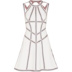 Hervé Léger Cutout embroidered stretch pointelle-knit mini dress ($2,310) ❤ liked on Polyvore featuring dresses, white evening dresses, short evening dresses, short party dresses, summer cocktail dresses and white cocktail dress