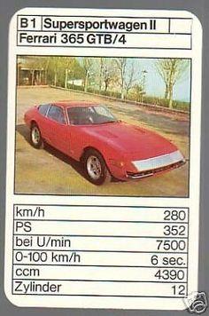 Ferrari 365 GTB/4 Ferrari, Top Trumps, Vintage Games, Car Detailing, Old Cars, Hot Wheels, Automobile, Nostalgia, Youth
