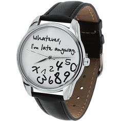 *The ORIGINAL* ZIZ Black-White Whatever, I'm Late Anyway Watch Unisex... ($45) ❤ liked on Polyvore featuring jewelry, watches, leather wrist band watch, quartz wrist watch, quartz jewelry, black and white watches and leather band watches