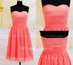 Hey, I found this really awesome Etsy listing at https://www.etsy.com/listing/186905701/short-lace-bridesmaid-dress-promcoral