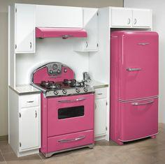 Pink 50's style kitchen appliances. Love