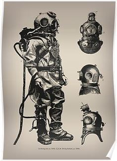 VINTAGE DEEP SEA DIVER / A vintage inspired design of Victorian era deep sea diving suit and helmets. / Please use the Available Products tab above to see the full range of art prints, home decor, clothing, bags, stationery and tec Diving Helmet, Diving Suit, Sea Diving, Cliff Diving, Tattoo Mascara, Scuba Diving Tattoo, Diving Logo, Diver Tattoo, Deep Sea Diver
