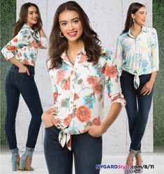 """Great use of the rules! """""""" neckline and front tie at the waist. The neckline, buttons and tie all draw the eyes in, narrowing the silhouette. Starting Your Own Business, Business Fashion, Bodies, Floral Tops, Stylists, Dressing, Feminine, Neckline, Silhouette"""