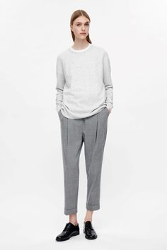 COS image 6 of Speckled wool jumper in Light Grey