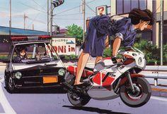DTYBYWL Manga Art, Manga Anime, Anime Art, Anime Motorcycle, Desenho Tattoo, Car Illustration, Old Anime, Manga Covers, Automotive Art
