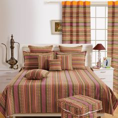 Striped Bedding, Cotton Bedding, Blue Bed Sheets, Bed Sheet Sizes, Designer Bed Sheets, Bed Sheets Online, Farmhouse Bedroom Decor, Ethnic Blue, Bed Spreads