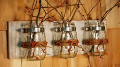 Orange Pip Berries and Twine mason jar trio by PineknobsAndCrickets, $42.00