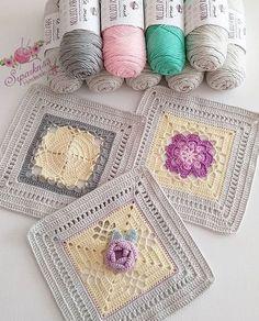 Ideas crochet afghan baby blue for 2019 Granny Square Häkelanleitung, Granny Square Crochet Pattern, Crochet Flower Patterns, Crochet Squares, Crochet Motif, Crochet Flowers, Crochet Stitches, Granny Squares, Love Crochet