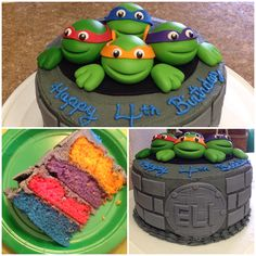 TMNT cake I made for my son's 4th birthday! I used fondant for the turtles and homemade buttercream for the frosting! Cowabunga dude!
