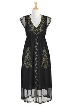 I <3 this Floral embellished tulle maxi dress from eShakti