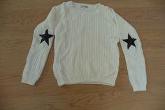 Weißer Strickpulli - Pullover mit Sternen an den Ellbögen - Größe XS | eBay