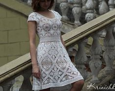 Crochet dress PATTERN Boho crochet dress PATTERN door krinichka