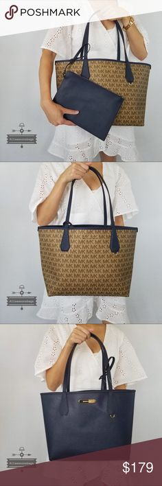 8a7f91c356e1 NWT Michael Kors Large Candy Reversible Tote Navy 100% Authentic & New  with Tag