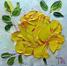 Yellow Rose Original impasto oil painting by TZartstudio Oil Painting Flowers, Oil Painting Abstract, Texture Painting, Painting Wallpaper, Acrylic Paintings, Giraffe Painting, Palette Knife Painting, Flower Doodles, Pastel Drawing
