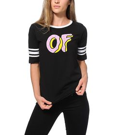 A hockey inspired tee that features an OF donut graphic printed on the front and short sleeves with contrast white stripes | Odd Future