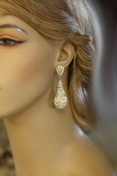 Bridal Earrings, Wedding ,Swarovski Crystal,  chandelier bridal earrings, Drop earrings, kim kardashian ,Statement by simplychic93 on Etsy