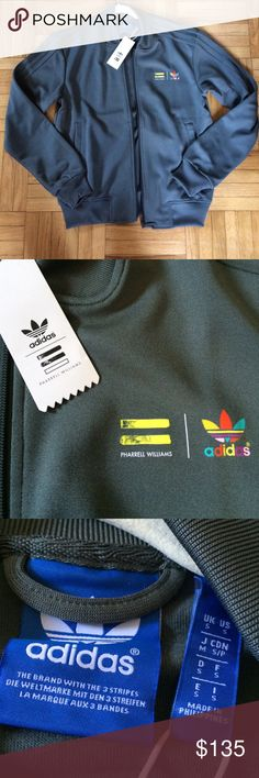 Adidas Pharrell Williams Track Jacket NWT Adidas Pharrell Williams track jacket. Greenish/Grayish color. Limited edition. Adidas Jackets & Coats