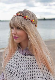 Autumn Red, Yellow and Orange Floral Head Crown