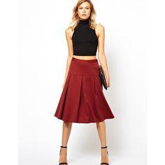ASOS Midi Skirt with Box Pleats - Polyvore