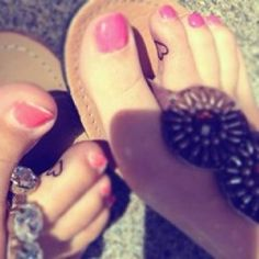 Best friend tattoos.<3 LMFAO INSIDE THE TOE TATTOOS FOR HANNAH AND I