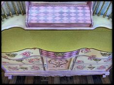 SOLD- Lexington furniture Victorian style, hand painted dresser and mirror Floral Furniture, Whimsical Painted Furniture, Hand Painted Furniture, Recycled Furniture, Paint Furniture, Antique Furniture, Furniture Ideas, Gold Glitter Paint, Spiegel Design