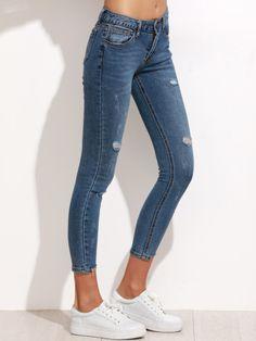 Vaqueros rotos asimétrico desflecado skinny-Sheinside Pantalones Rotos  Mujer c5bfd293ab23c