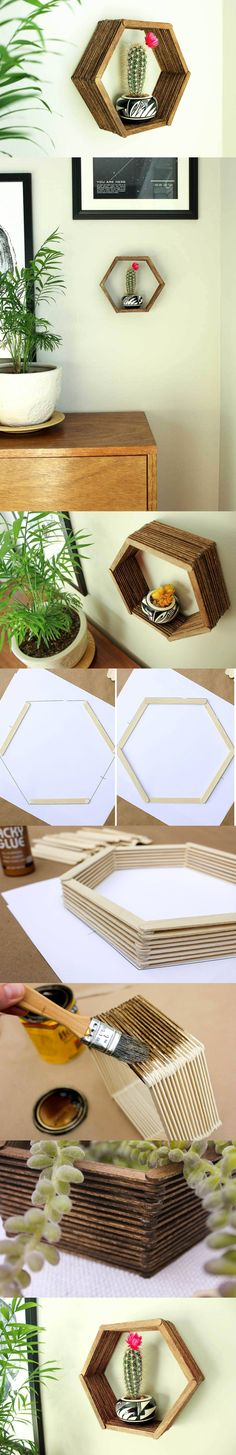 Estante hexagonal con palitos de helado - DIY Hexagonal Shelf