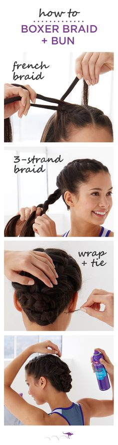 How To: Boxer Braid + Ballerina Bun | This braided hairstyle is the perfect gym-to-work look | 1. Part hair down the middle & French braid until just past your ear. • 2. Tie hair into a low pony and create a three-strand braid • 3. Wrap braid into a bun and secure in place with an elastic. For extra hold while you work out, finish with Aussie Instant Freeze Hairspray. And for smoother, stronger strands use Instant Freeze Mousse before you braid.
