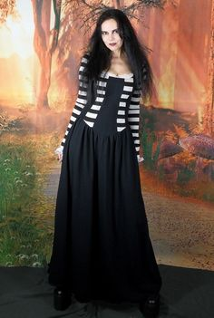 Black Alyss Dress - long cotton lycra Alice Dress by Moonmaiden Gothic Clothing UK