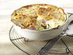 Gratin van aardappel, wortel en courgette, komijn en Oud Brugge