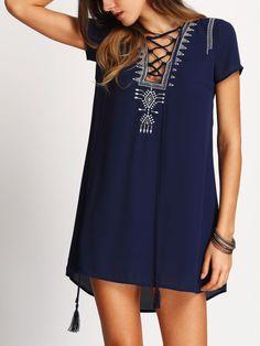 Royal Blue Lace Up Print Front Shift Dress aaaha you mean shirt lol