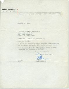 Knoll Associates Inc. Original Letterhead – Herbert Matter, 1948