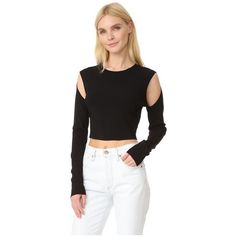 Opening Ceremony Long Sleeve Crop Top (361 AUD) ❤ liked on Polyvore featuring tops, black, rayon tops, cut out long sleeve top, cut-out tops, long sleeve tops and viscose tops