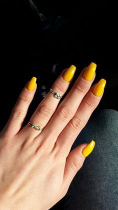 Bright sunshine yellow ballerina coffin nail art