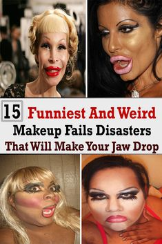 15 Funniest And Weird Makeup Fails Disasters That Will Make Your Jaw Drop Weird Makeup, Funny Makeup, Crazy Makeup, Makeup Humor, Makeup Course, How To Apply Makeup, Weird Facts, Fails, Health And Beauty