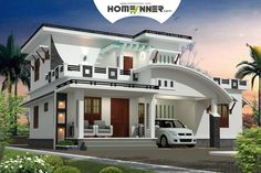 Modern Black and White Style Contemporary Villa Design in 2232 sqft