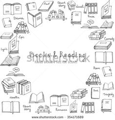 Hand drawn doodle Books and Reading set Vector illustration Sketchy set of book icons elements Vector symbols of reading and learning Educational club illustration Education logo element