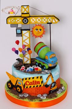 Tort Santierul lui Calin Toddler Birthday Cakes, Baby Boy Birthday Cake, Brithday Cake, 1st Bday Cake, Birthday Cake Models, Truck Birthday Cakes, Construction Birthday Parties, Construction Party, Police Cakes