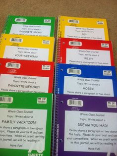 Whole class journals.  http://www.ilovemyclassroom.blogspot.com/2012/07/monday-made-it-hall-pass-and-writing.html
