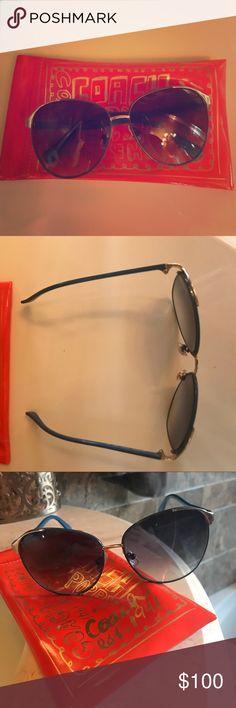 Coach aviator sunglasses Blue trim coach aviator sunglasses - authentic and never worn Coach Accessories Sunglasses