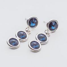 Swarovski Rivoli Earrings 6/6/6mm Montana  Dimensions: length: 3,2cm stone size: 6mm Weight ( silver) ~ 3,30g ( 1 pair ) Weight ( silver + stones) ~ 3,95g Metal : sterling silver ( AG-925) Stones: Swarovski Elements 1122 SS29 ( 6mm ) Colour: Montana 1 package = 1 pair  Price 9 EUR Sterling Silver Earrings Studs, Silver Jewelry, Stud Earrings, Swarovski, Crystals, Montana, Stones, Colour, Ebay
