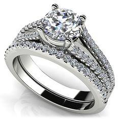 Diamond Lined Split Shank Matching Wedding Set