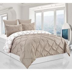 Esy Reversible Pintuck-Printed 3 Piece Duvet Set by Duck River Textile Taupe - ESY 10528D=1