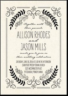 in love with this lovely LETTERPRESS botannical invite! :)