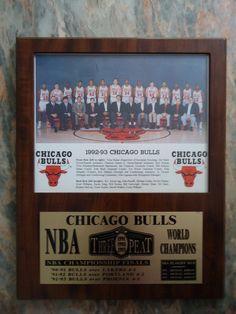 Chicago Bulls 1992-93 NBA Plaque Team Photo Michael Jordan, Scottie Pippen 3Peat