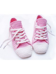 This fun sneaker pattern can be made to wear around the house, or you can add a cord sole to take them out on the town. The design is made using a double strand of size 3 crochet cotton. Instructions are written but include step-by-step photos as wel...